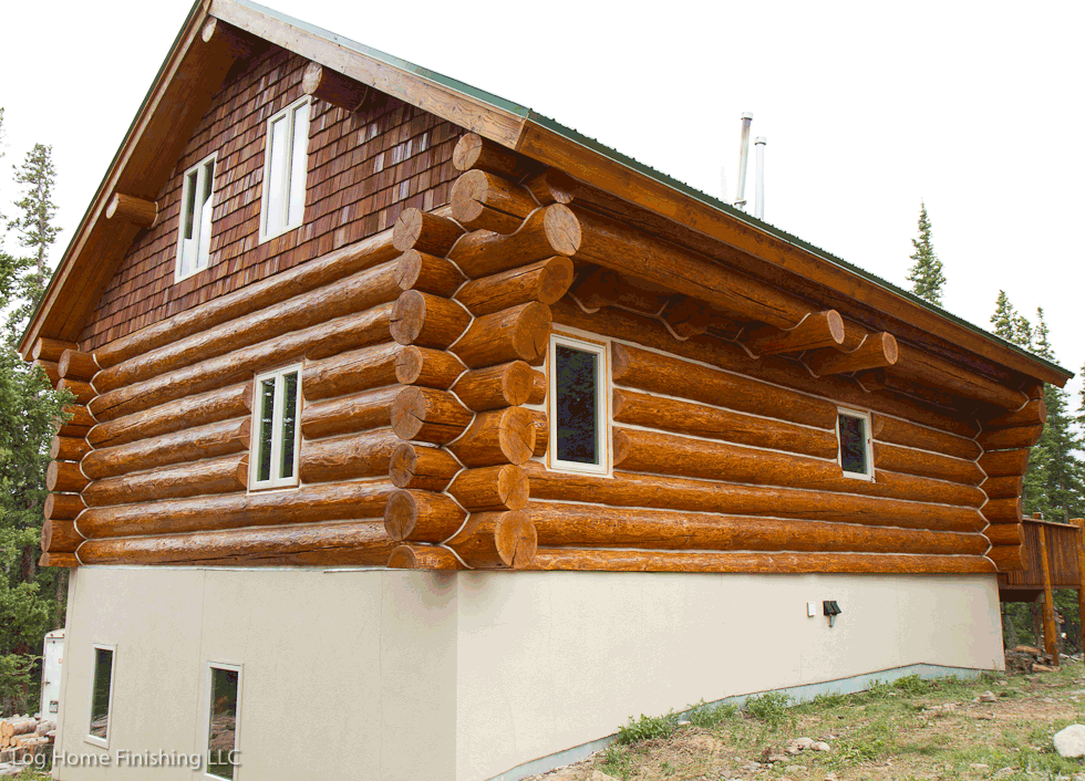 Log home maintenance colorado 970 368 2308 How to stain log cabin