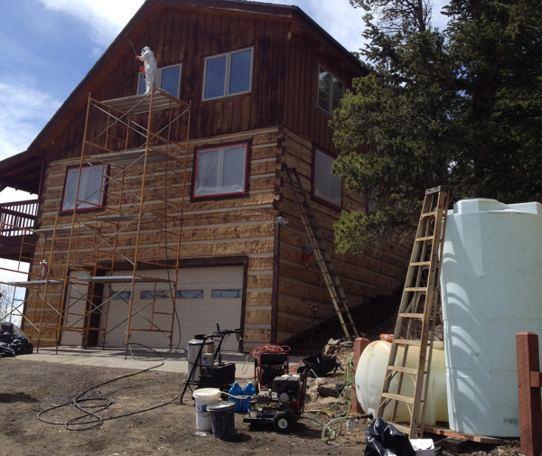log home staining Steamboat